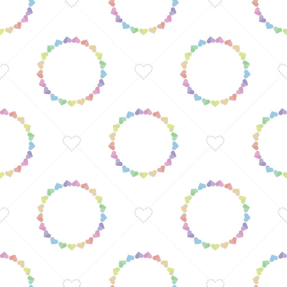 sömlös söt alla hjärtans dag mönster bakgrund med färgglada hjärta vektor