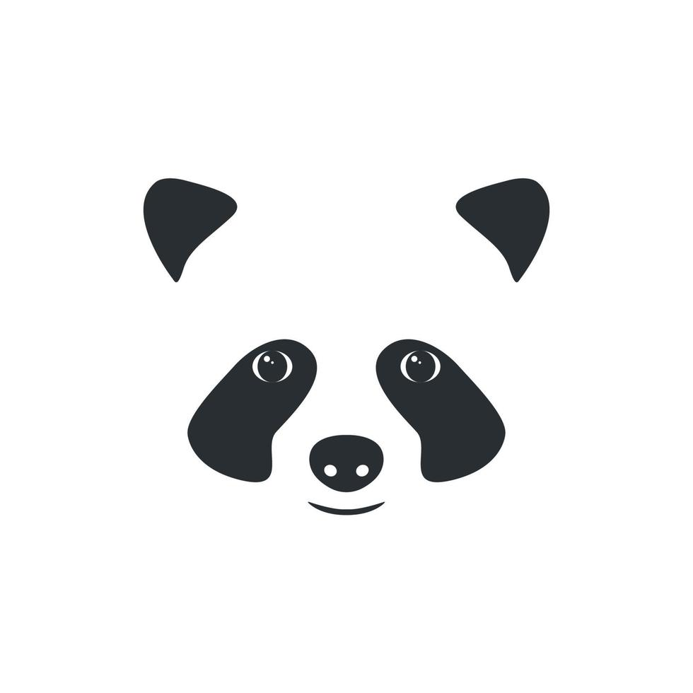 Vektor Panda Kopf. kleines Panda-Logo, schwarz auf weiß.
