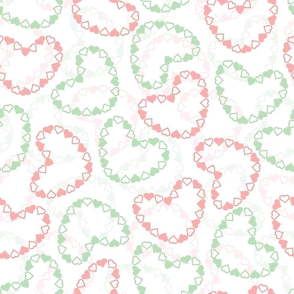 sömlös alla hjärtans dag mönster bakgrund med rosa och grönt hjärta ram vektor