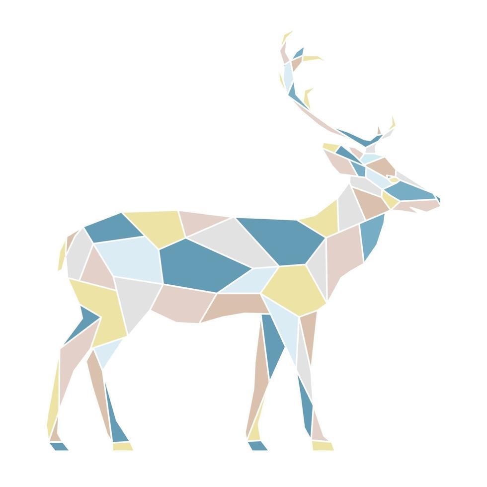 mehrfarbige Darstellung des polygonalen geometrischen Umrisses des Hirsches. skandinavischen Stil. vektor