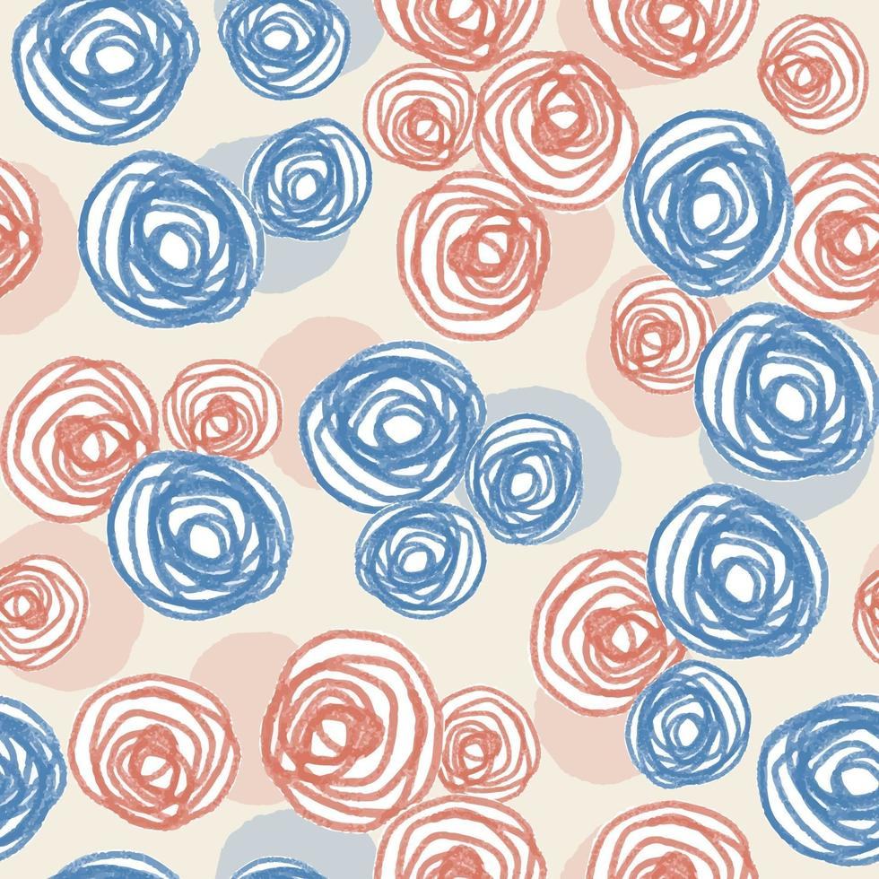 sömlös alla hjärtans dag mönster bakgrund med blå och rosa rosor vektor