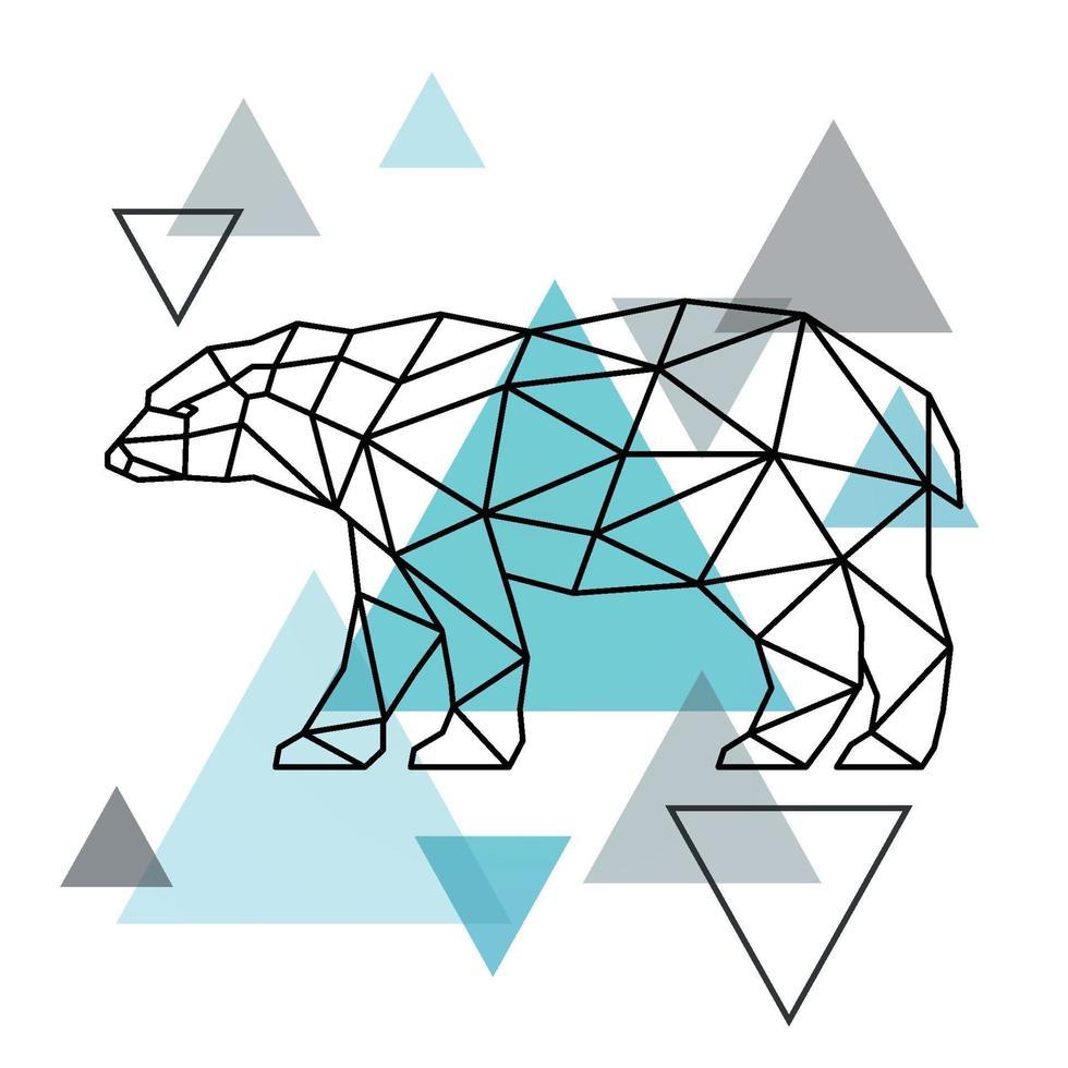 geometrisk silhuett av en isbjörn. skandinavisk stil. vektor