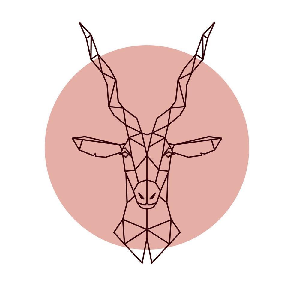 geometrischer Kopf der Antilope. Vektorillustration eines wilden Tieres. vektor