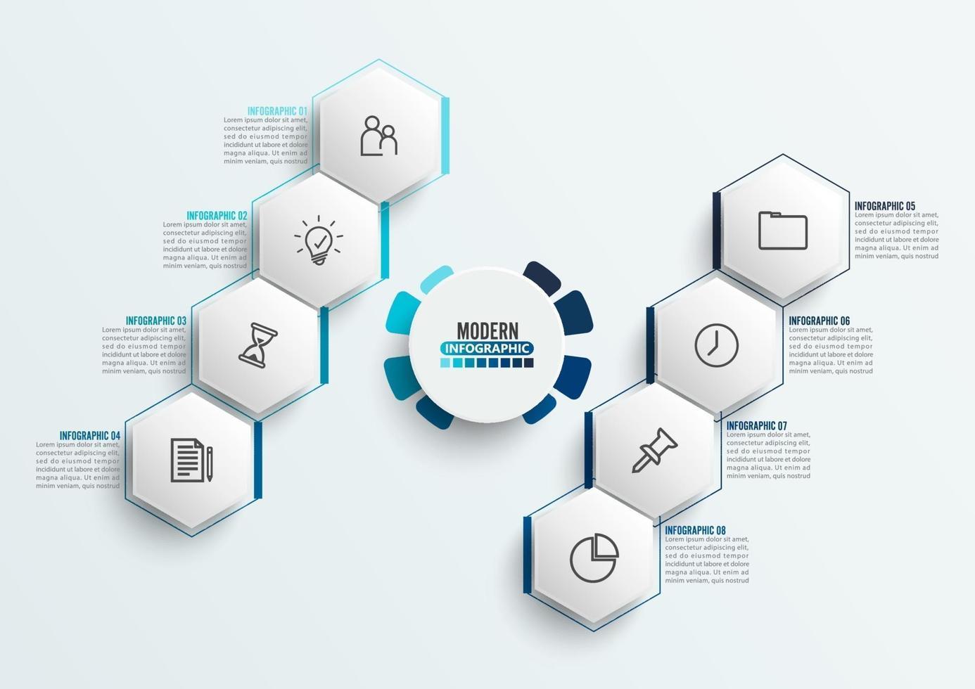 Vektor-Infografik-Vorlage mit 3D-Papieretikett, integrierte Kreise. Geschäftskonzept mit 8 Optionen. für Inhalt, Diagramm, Flussdiagramm, Schritte, Teile, Zeitleisten-Infografiken, Workflow, Diagramm. vektor