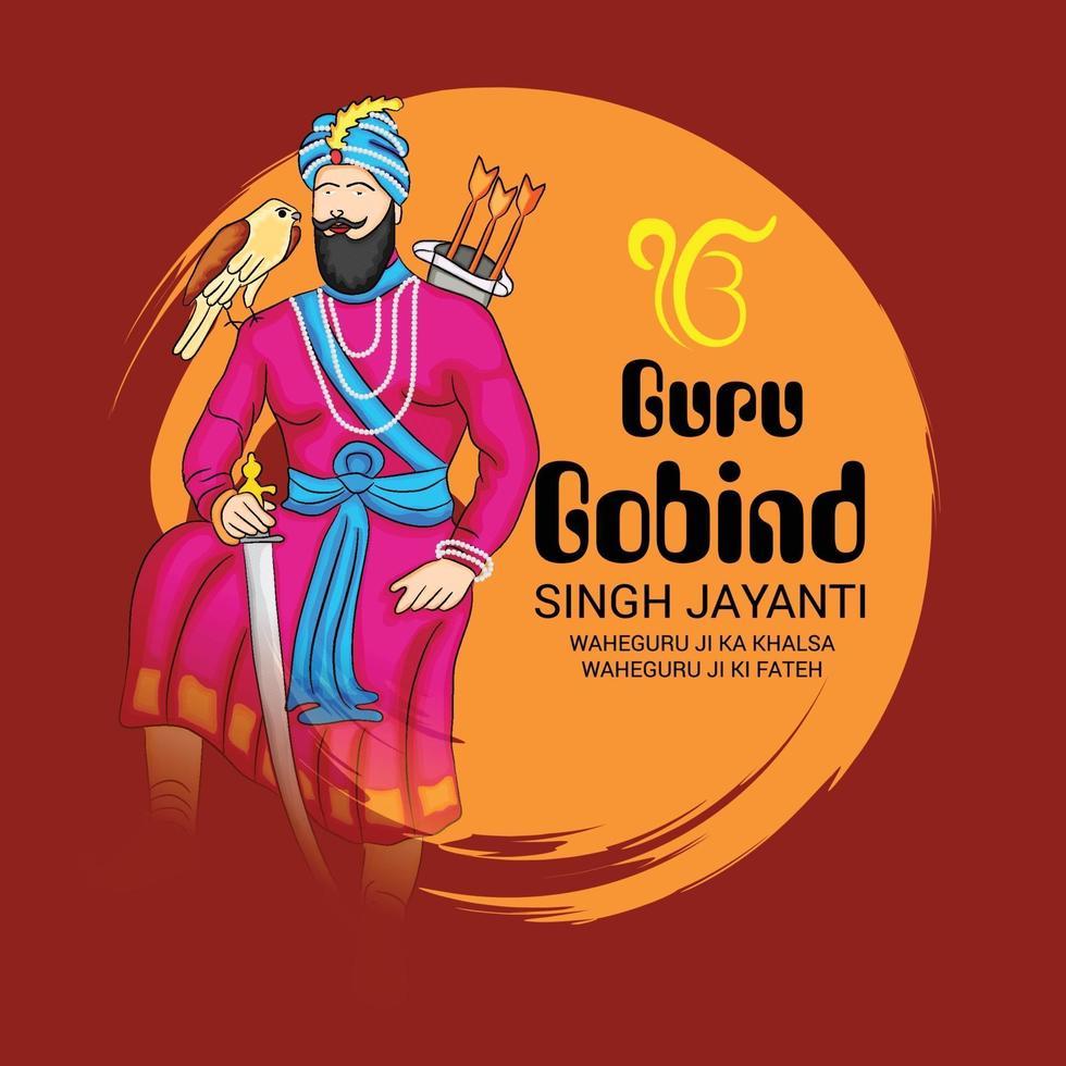 Vektor-Illustration eines Hintergrunds für glückliches Guru-Gobind-Singh-Jayanti-Festival für Sikh-Feier. vektor
