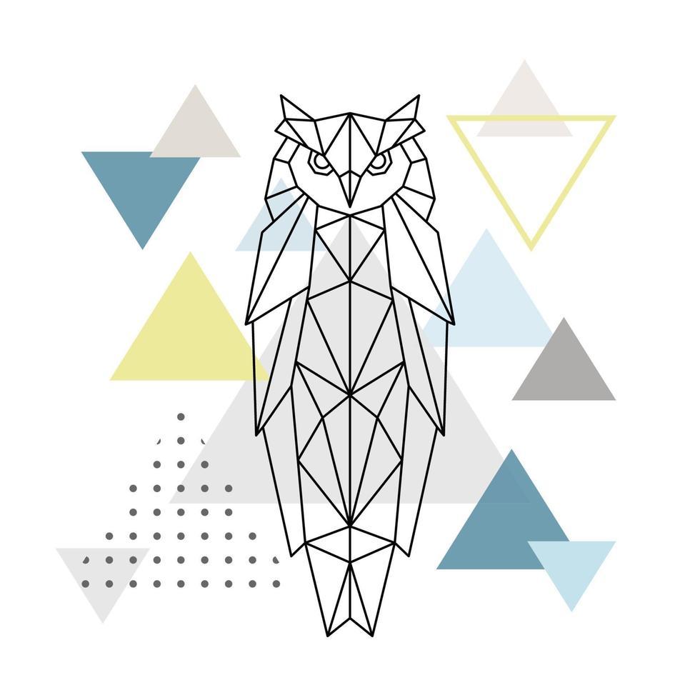 polygonale Eule auf abstraktem Hintergrund mit Dreiecken. Plakat im skandinavischen Stil. vektor