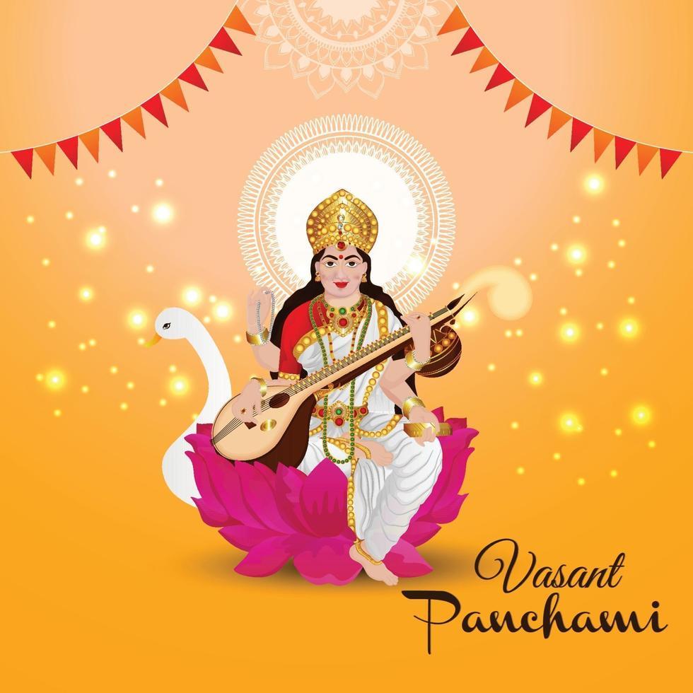 kreative Illustration der Göttin Saraswati glücklich Vasant Panchami vektor