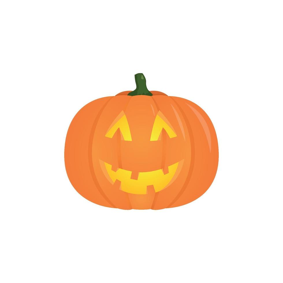 Vektor Halloween Kürbis mit Kerze innen, lokalisiert auf weißem Hintergrund.