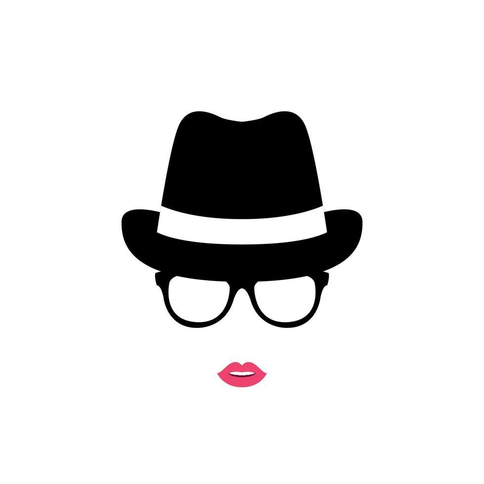 Mädchen in einem Hut und in den Gläsern lokalisiert auf weißem Hintergrund. Frauenikone. vektor