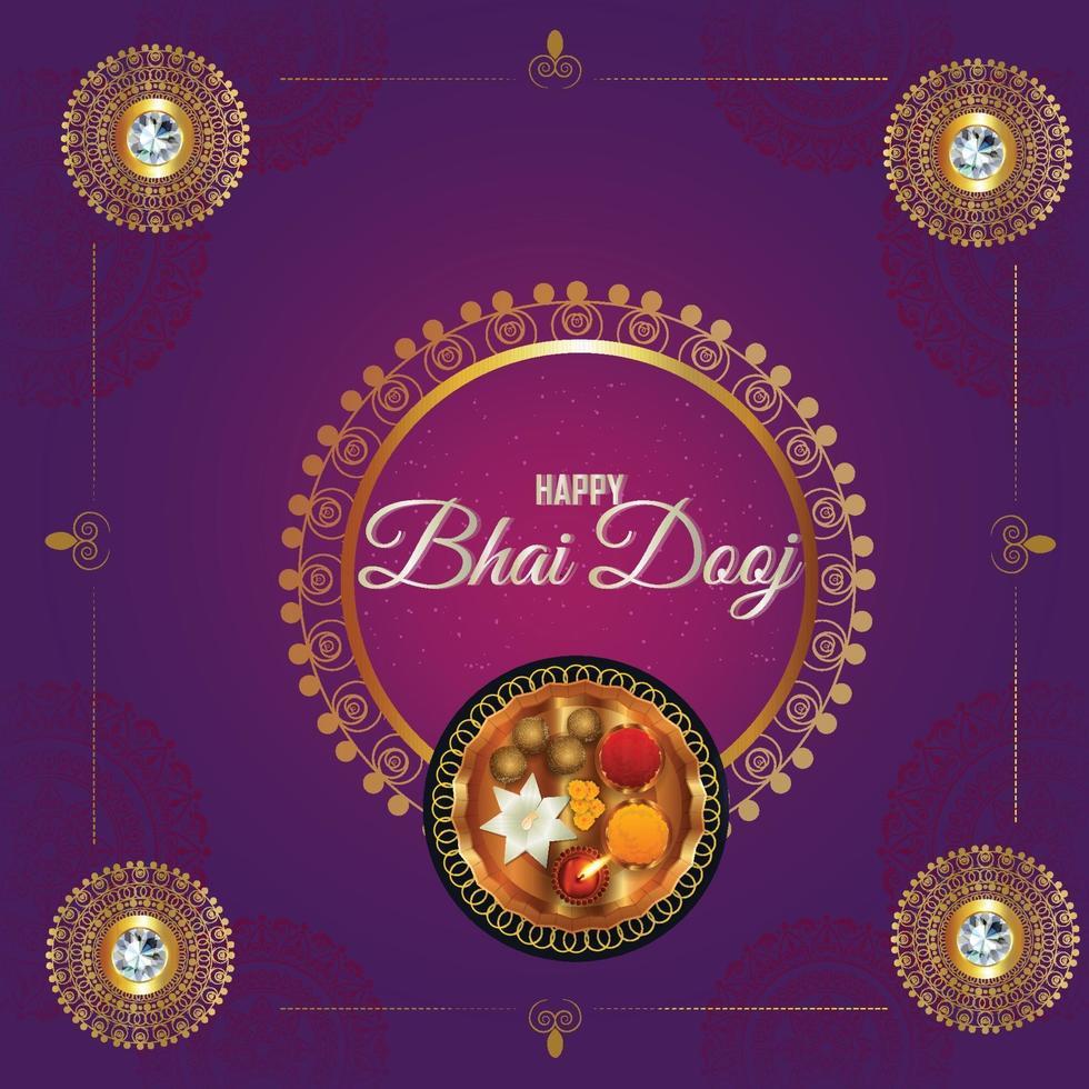 glücklicher bhai dooj Hintergrund mit Ringelblume und Puja Thali vektor