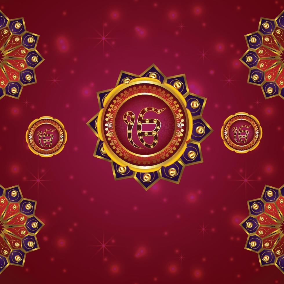 glücklicher guru gobind singh jayanti mit sikh symbol khanda sahib vektor
