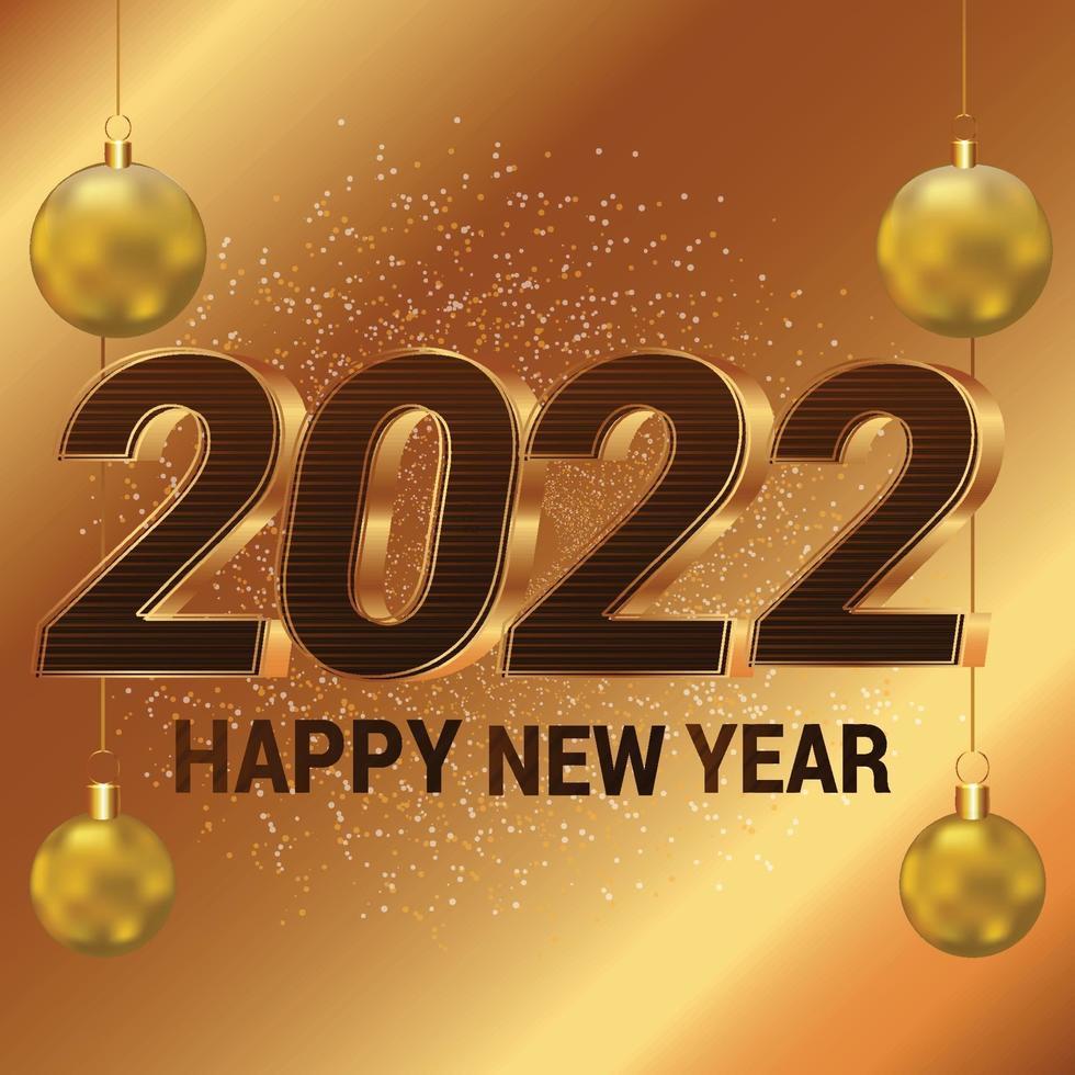 Frohes neues Jahr goldene Feierkarte vektor