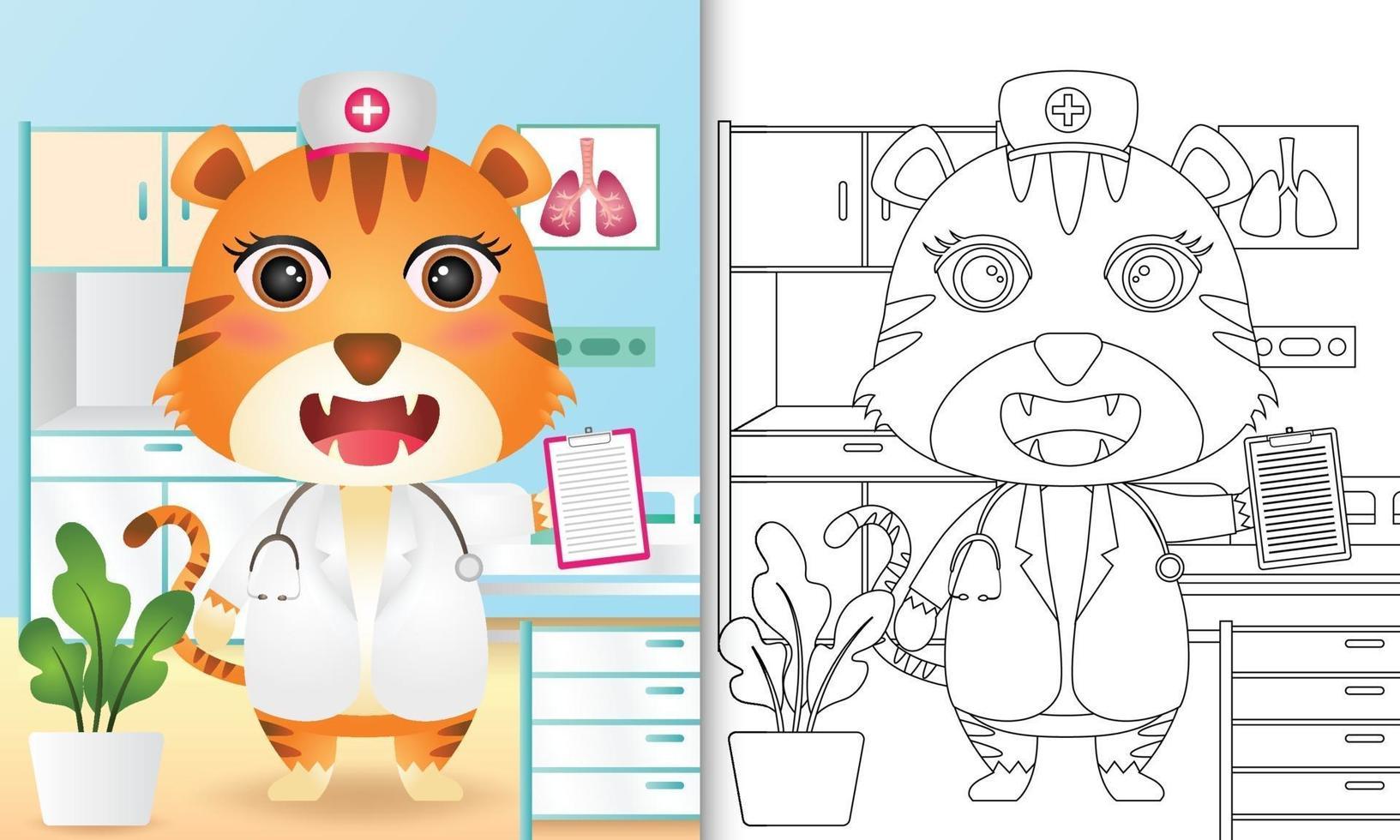 Malbuch für Kinder mit einer niedlichen Tigerkrankenschwester-Charakterillustration vektor