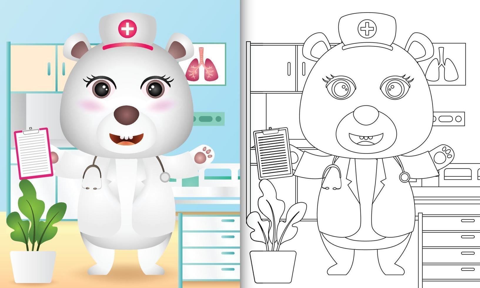 Malbuch für Kinder mit einer niedlichen Eisbärenkrankenschwester-Charakterillustration vektor