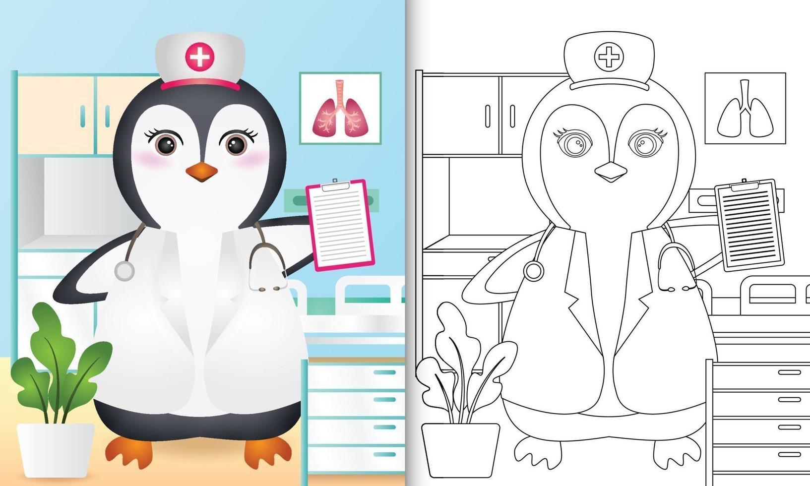 Malbuch für Kinder mit einer niedlichen Pinguin-Krankenschwester-Charakterillustration vektor