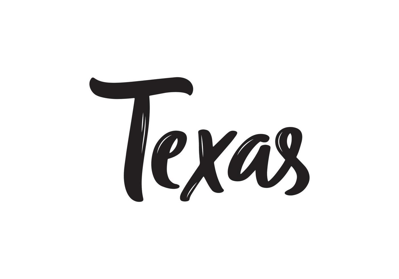 Texas Schriftzug. handschriftlicher Name des amerikanischen Staates. vektor