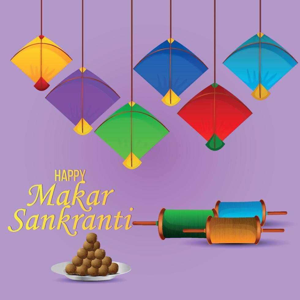 Makar Sankranti bunte Drachen mit Schnurspulen vektor