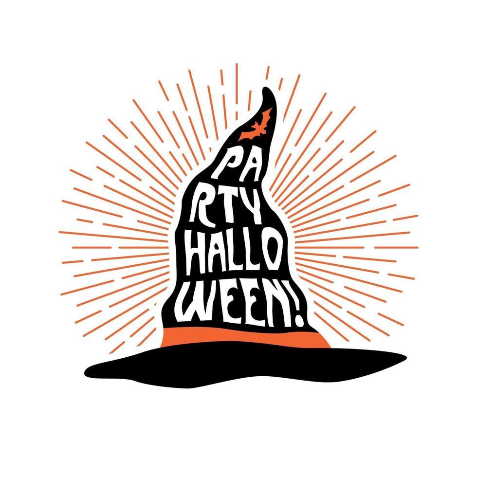 Hexenhut mit Schriftzug Party Halloween. Flyer Design. vektor
