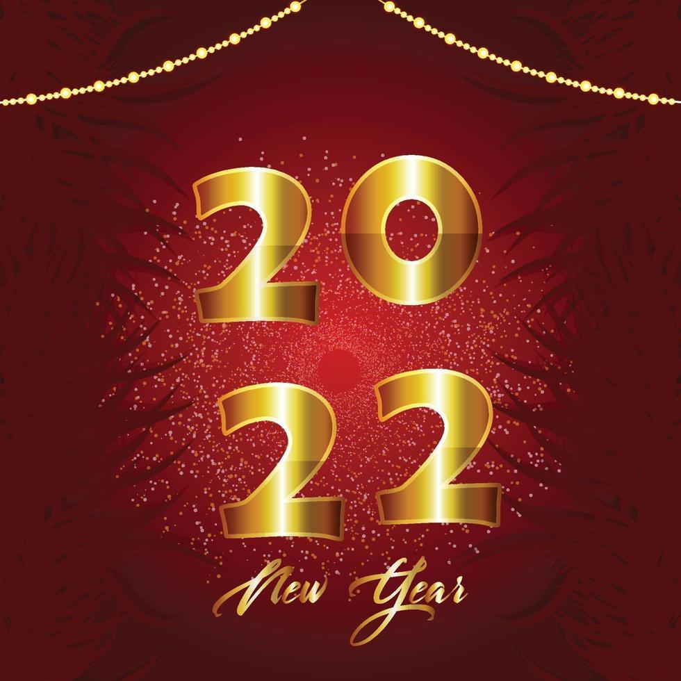 Frohes neues Jahr 2022 goldenes Textdesign vektor