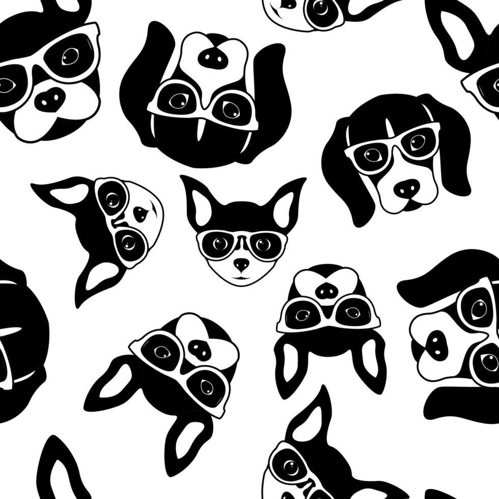nahtloses Muster der niedlichen Hundegesichter. Französische Bulldogge, Beagle und Chihuahua. schwarze weiße Vektorillustration. vektor