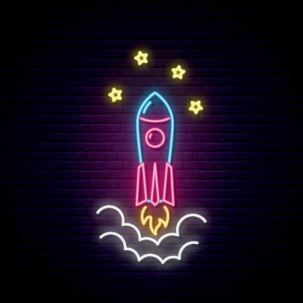 Raketenvektoremblem im Neonstil vektor