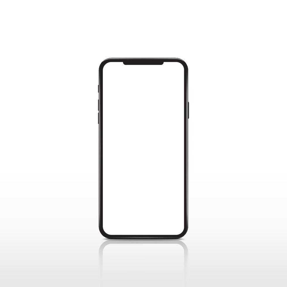 modern realistisk vit smartphone. mobiltelefon ram med tom skärm. vektor mobil enhet koncept.