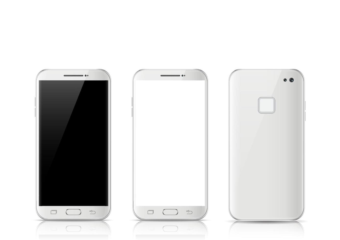 modernes weißes Touchscreen-Handy, Tablet-Smartphone isoliert auf hellem Hintergrund. Telefon Vorder- und Rückseite isoliert. vektor