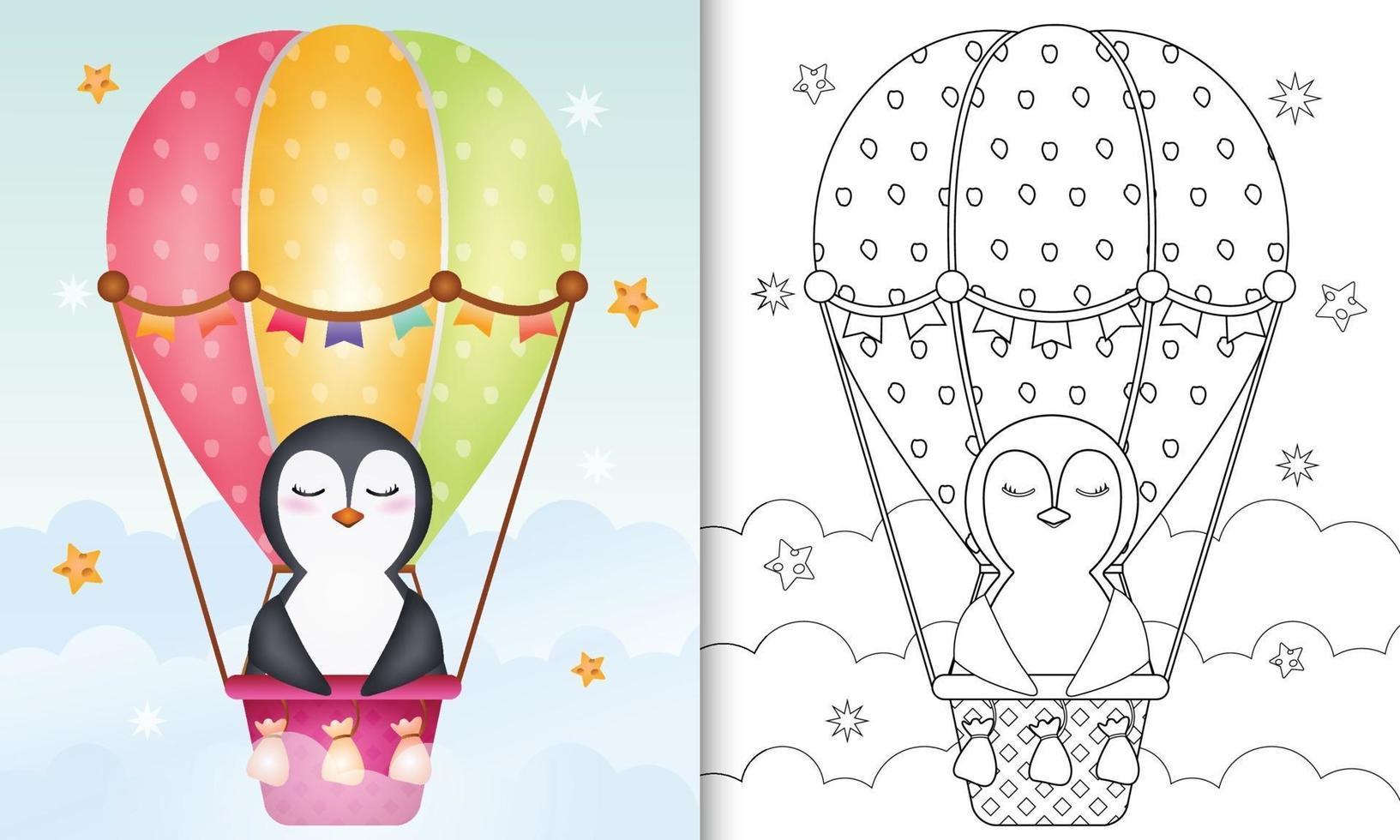 Malbuch für Kinder mit einem niedlichen Pinguin auf Heißluftballon vektor