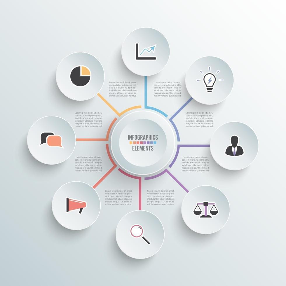 Vektor-Illustration Infografiken. Geschäftskonzept mit 8 Optionen. für Inhalt, Diagramm, Flussdiagramm, Schritte, Teile, Zeitleisten-Infografiken, Workflow, Diagramm. vektor