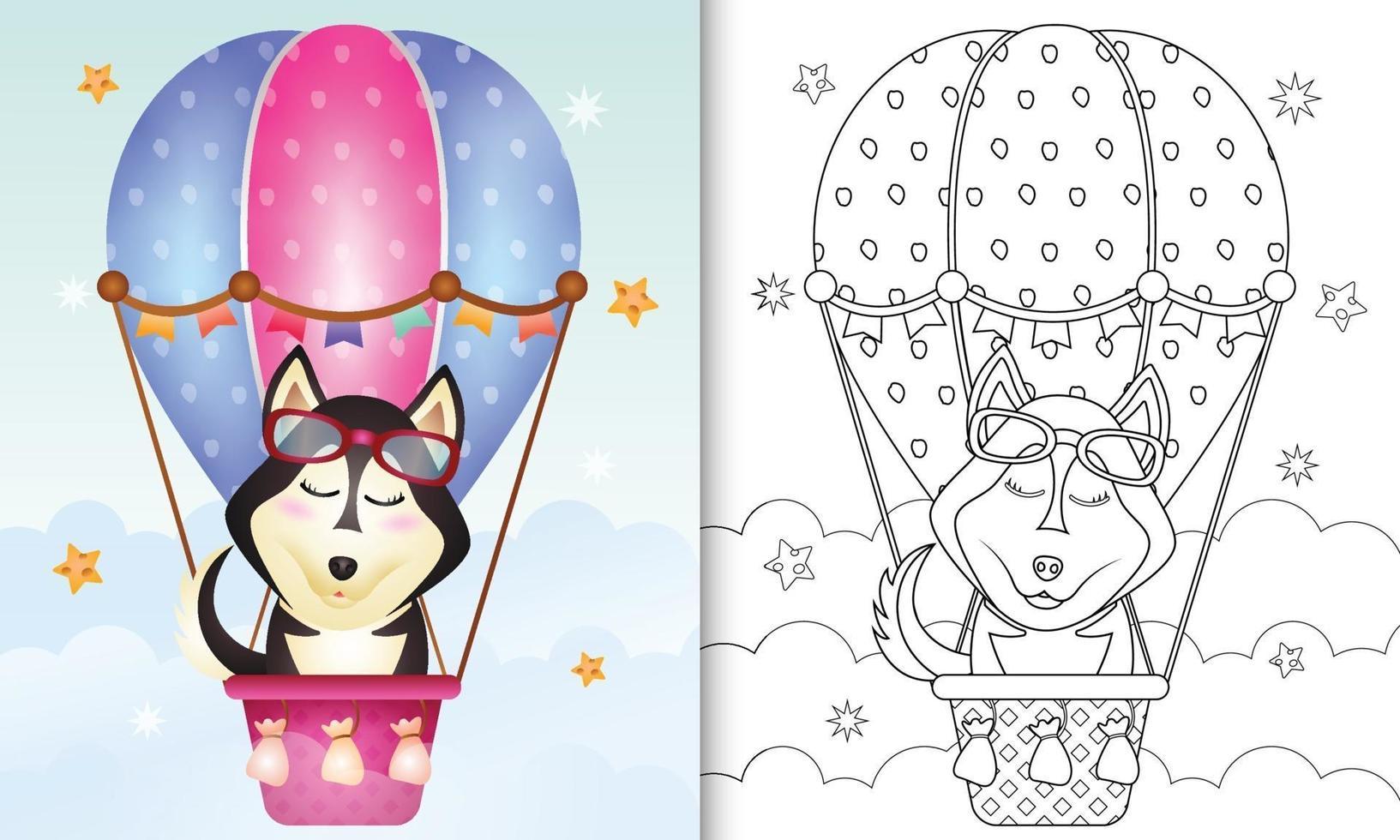 Malbuch für Kinder mit einem niedlichen Husky-Hund auf Heißluftballon vektor