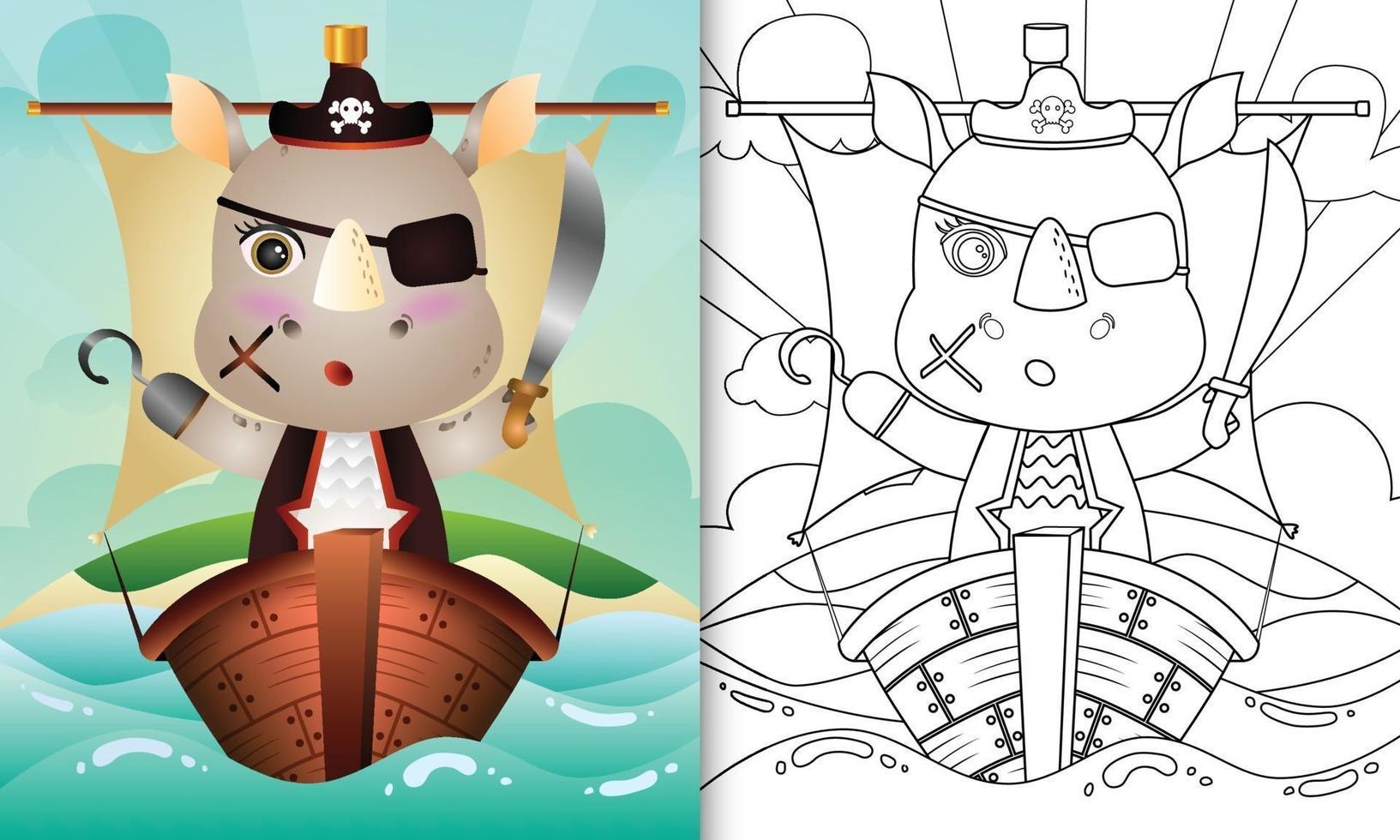 Malbuch für Kinder mit einer niedlichen Piraten-Nashorn-Charakterillustration vektor