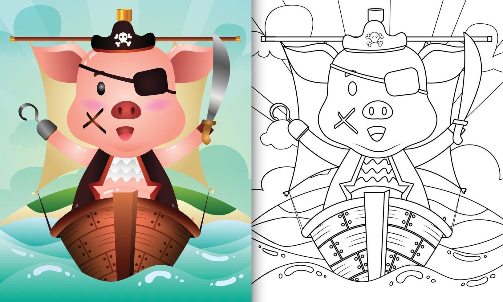 Malbuch für Kinder mit einer niedlichen Piratenschweincharakterillustration vektor
