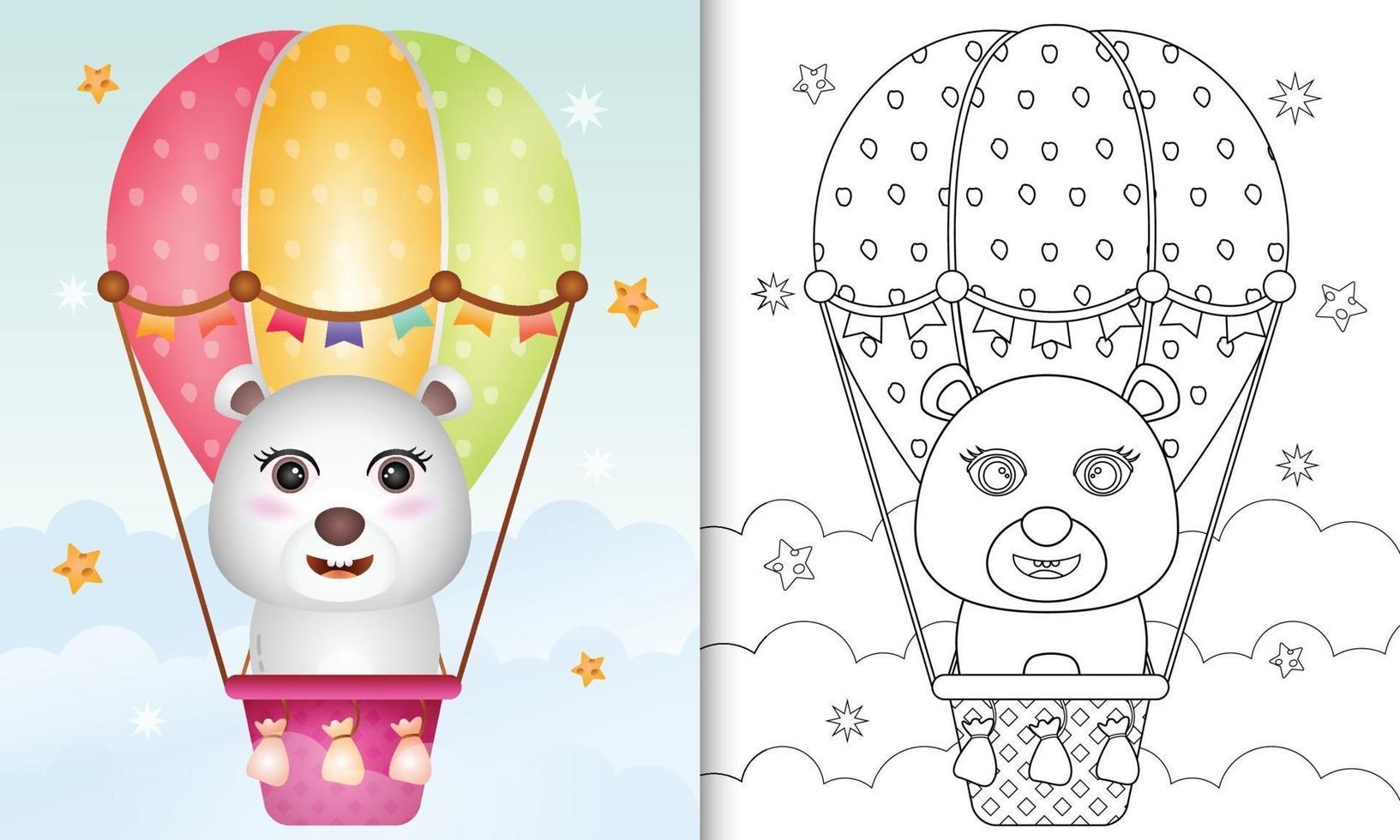 Malbuch für Kinder mit einem niedlichen Eisbären auf Heißluftballon vektor