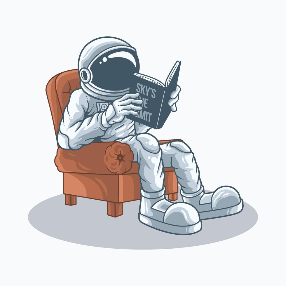 Astronauten lehnen sich in Stühlen zurück und lesen den Vektor book.premium