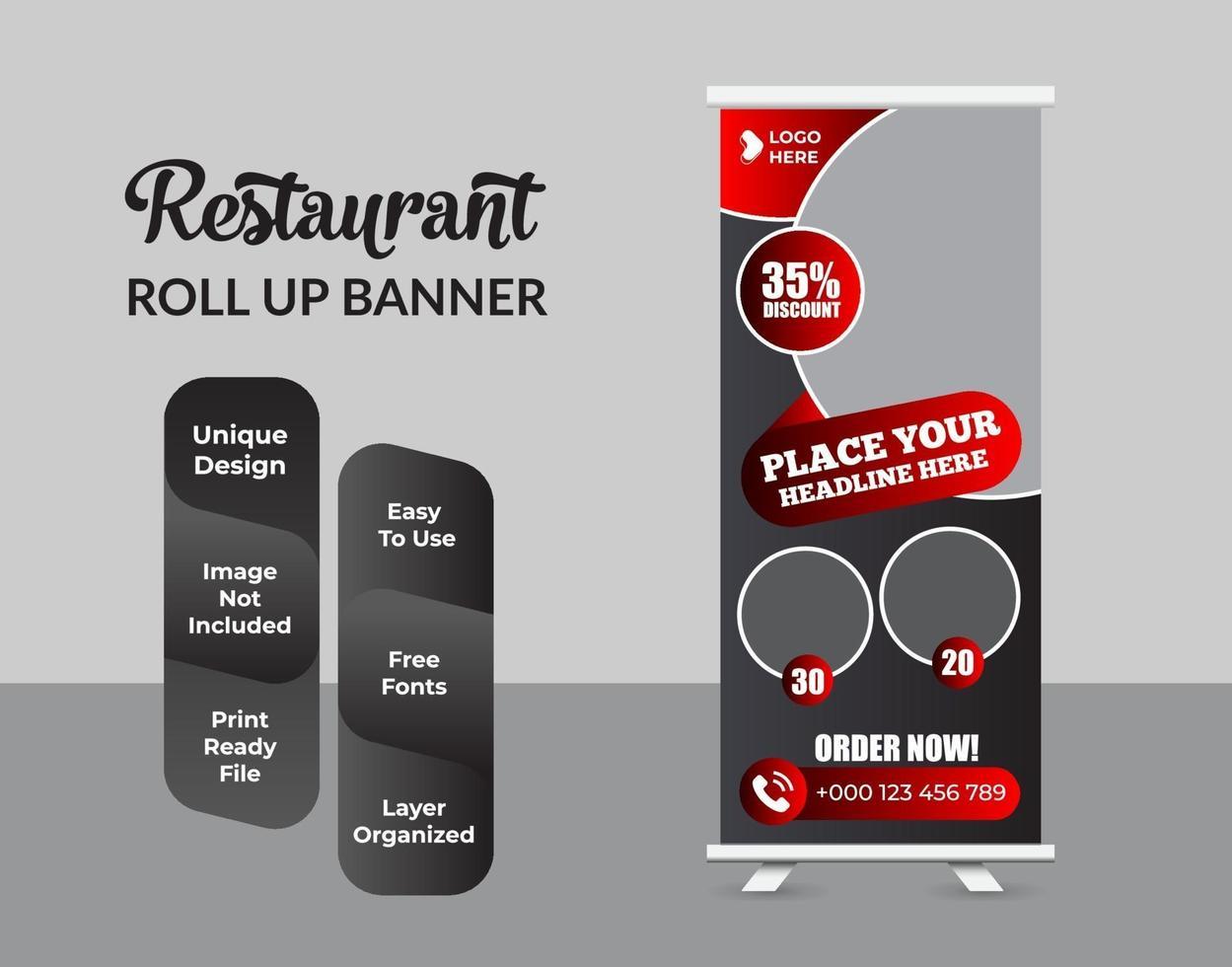Roll up Banner Design Vorlage abstraktes Design vektor