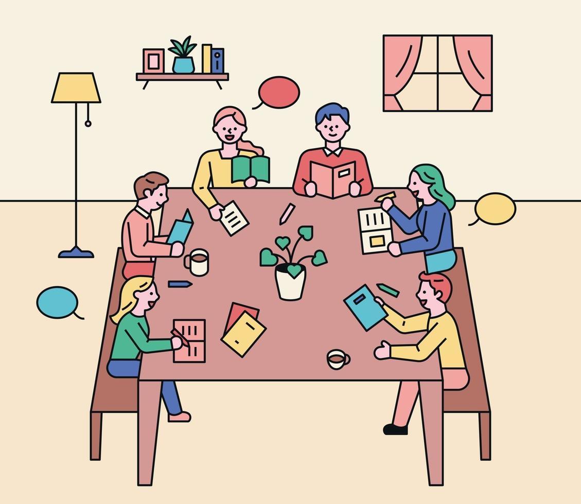 Diskussionstreffen lesen. Leute sitzen an einem Tisch und diskutieren. vektor