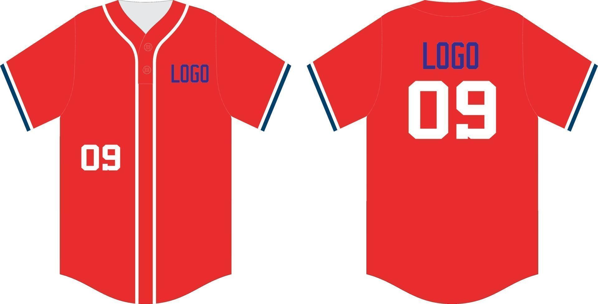 Baseball T-Shirt verspotten, vorne und hinten vektor