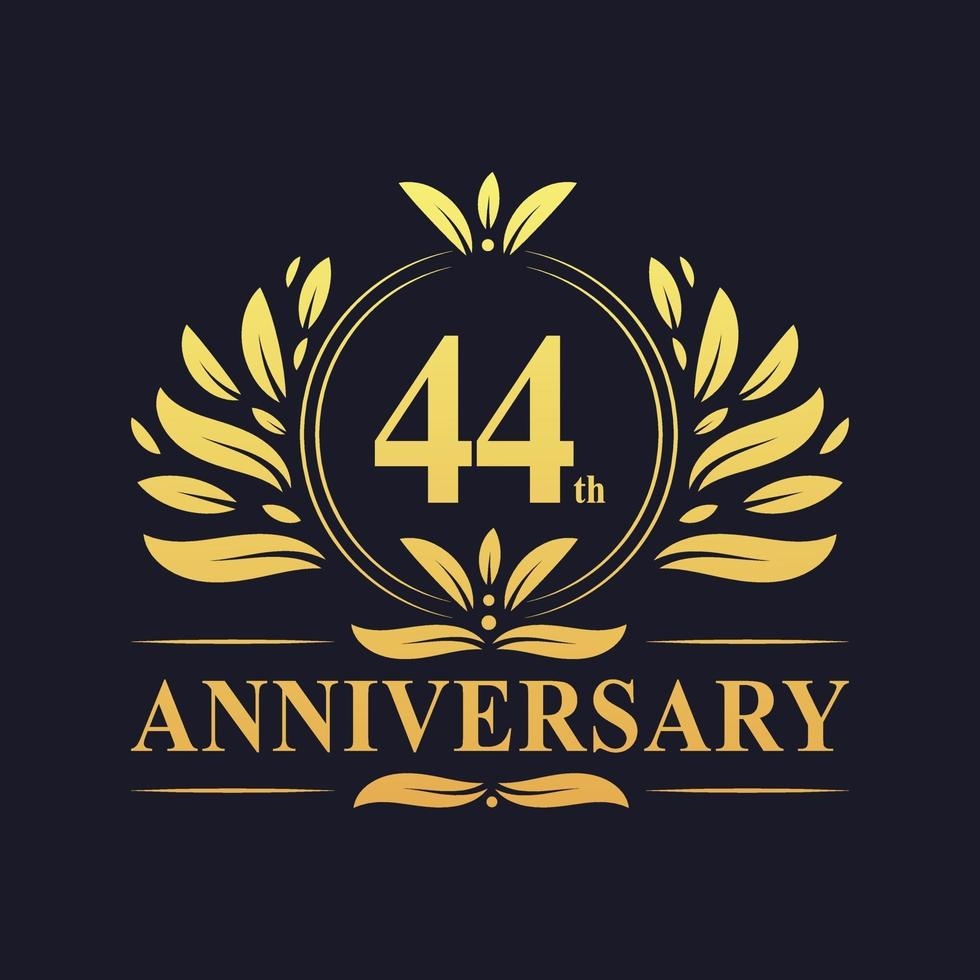 44-årsjubileumsdesign, lyxig gyllene färg 44-årsjubileumslogotyp. vektor
