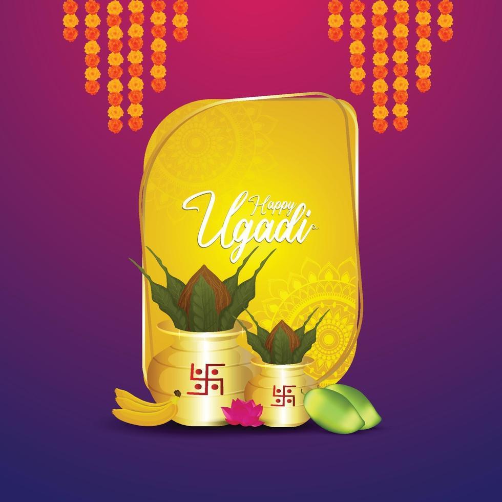 glückliches gudi padwa Designkonzept mit realistischem Kalash und Süßigkeiten vektor