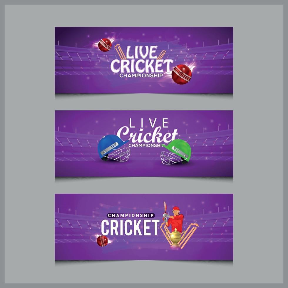 Cricket Match Konzept Banner mit Cricket Helm und Fledermäusen vektor