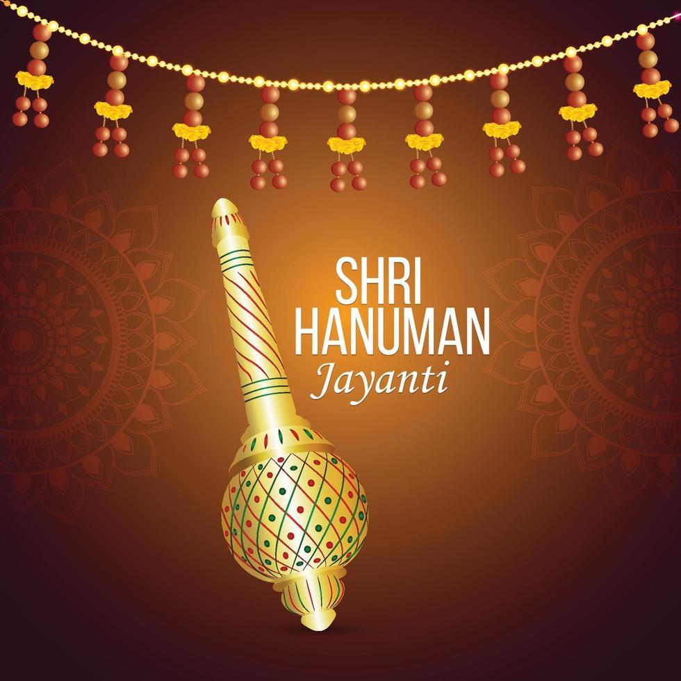 hanuman jayanti firande gratulationskort och bakgrund med lord hanuman vapen vektor