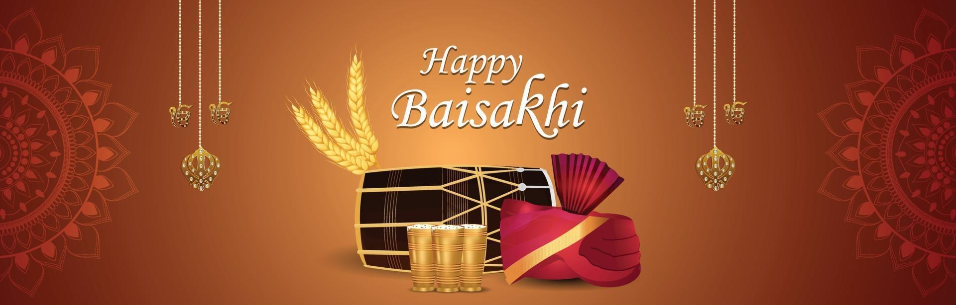 glad vaisakhi punjabi festival firande banner vektor