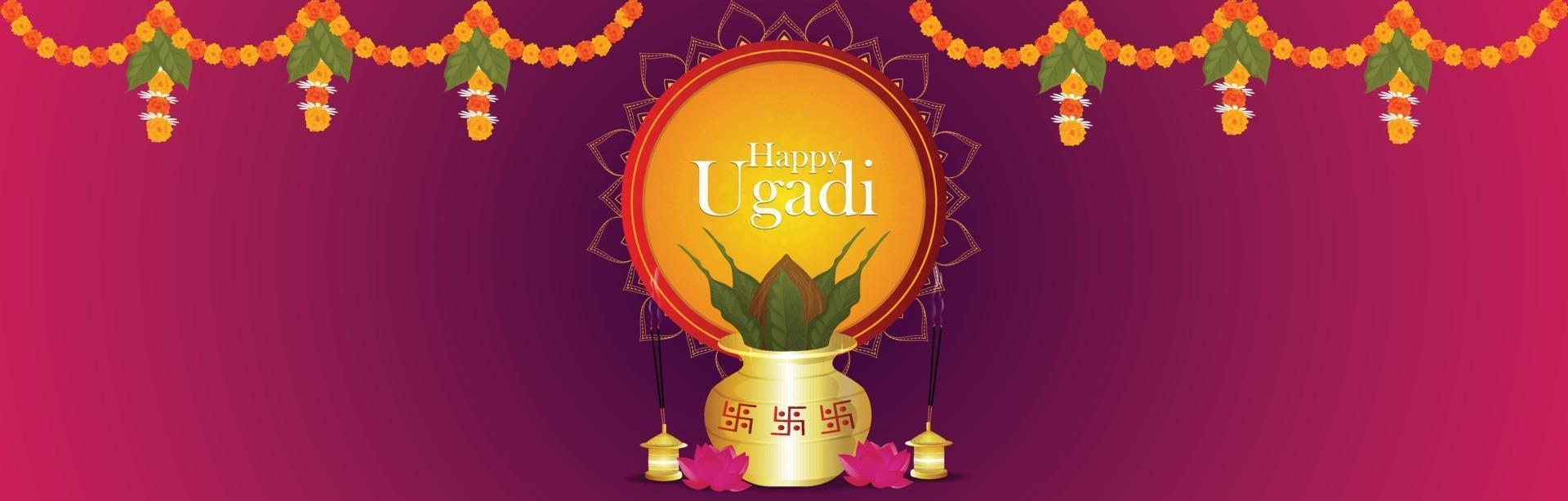 Fröhliches Ugadi. Vorlage Grußkarte traditionelles Festival vektor