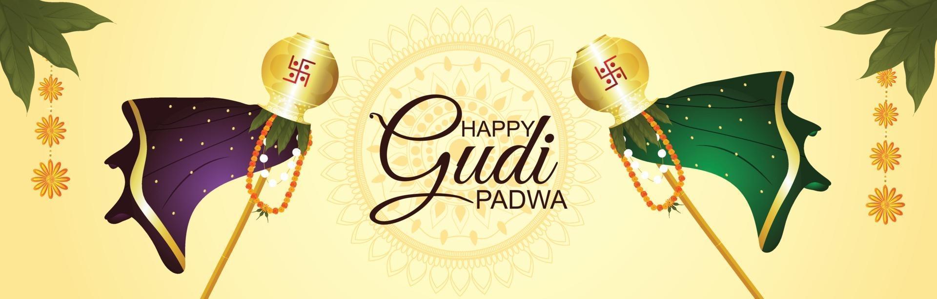 glad ugadi indisk festival gratulationskort vektor