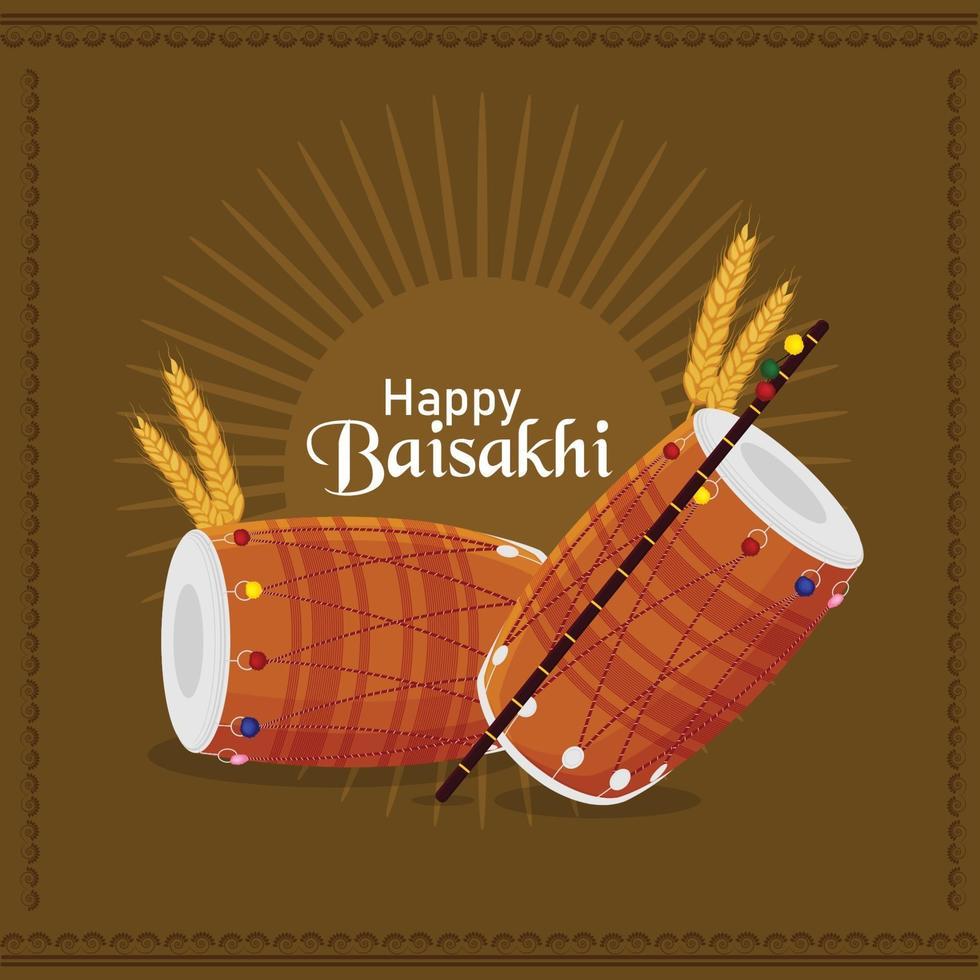 glad vaisakhi firande platt design med trumma vektor