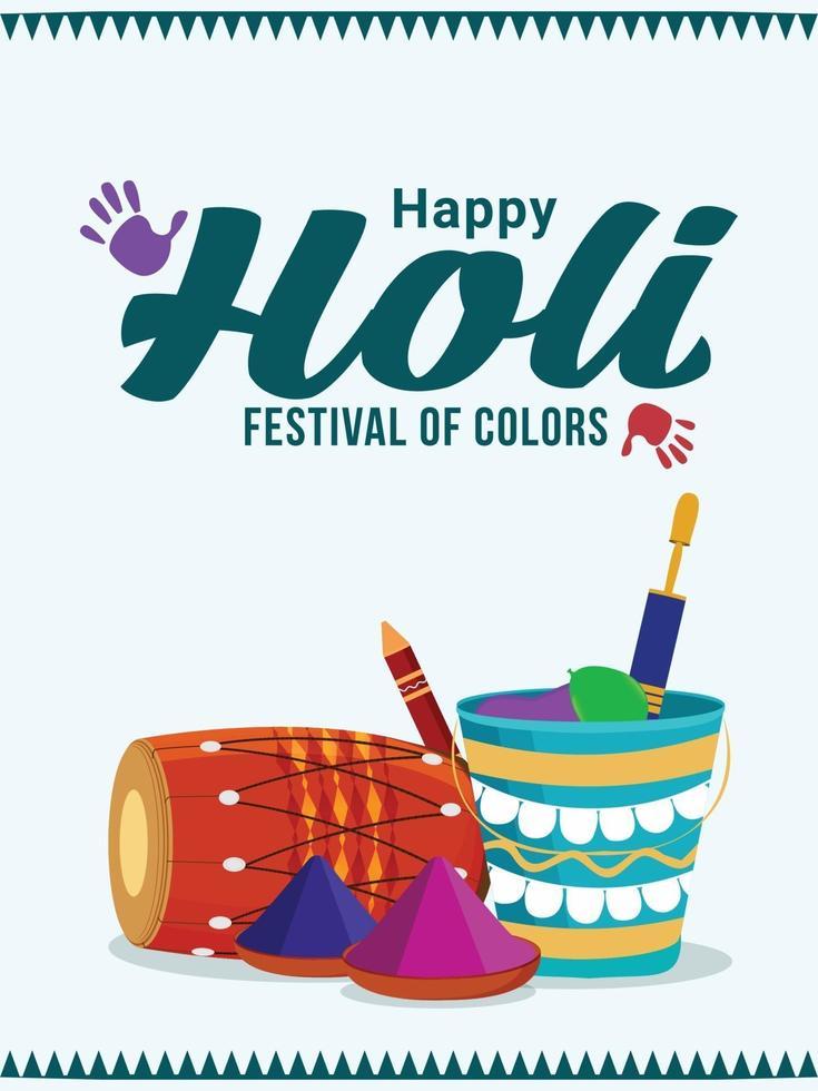 glückliche holi indische Festivalgrußkarte mit Pulverschlammtopf und farbiger Farbe vektor