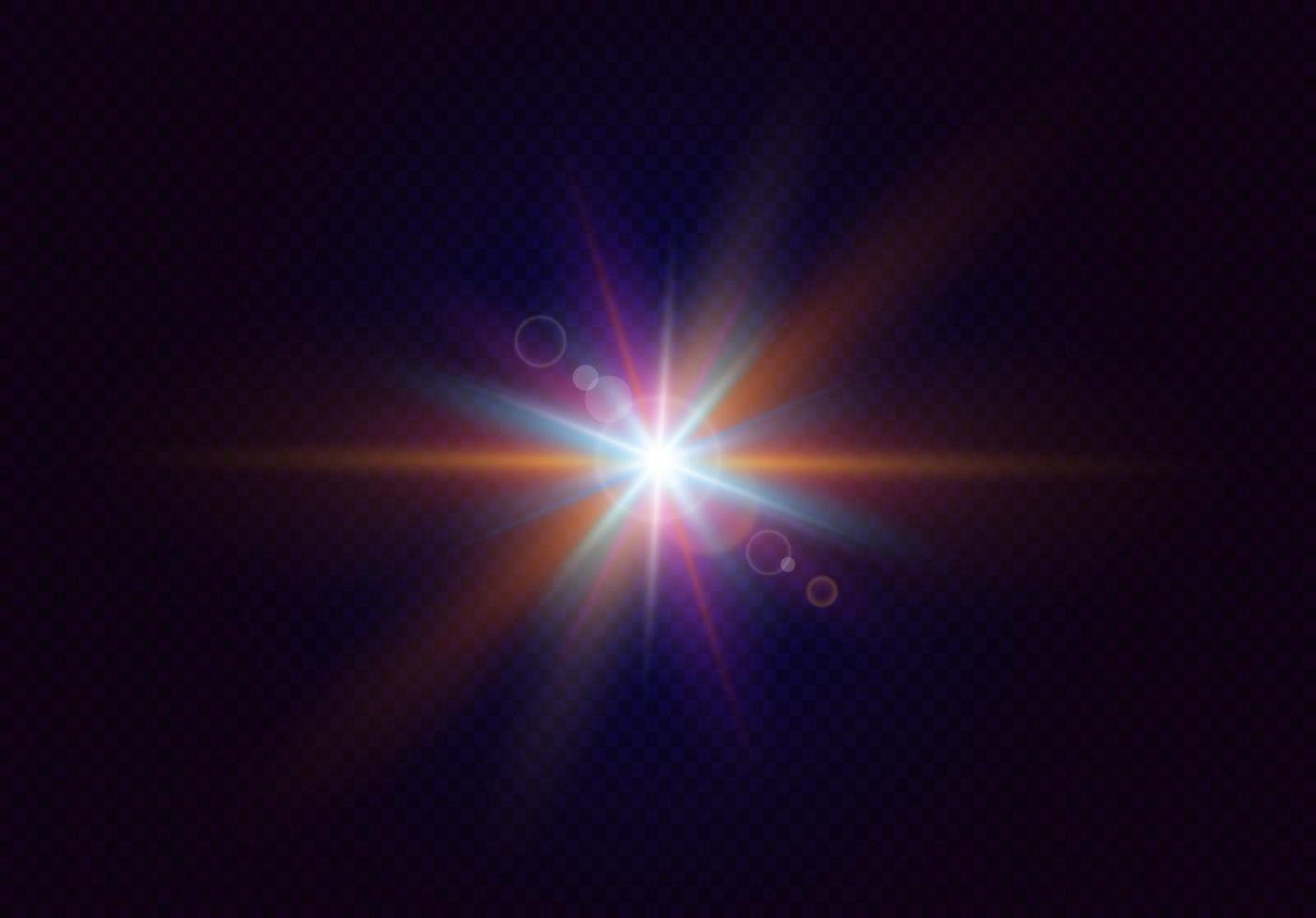 blixt med färgglad blinkande effekt. realistiskt ljus med strålar. vektor illustration.
