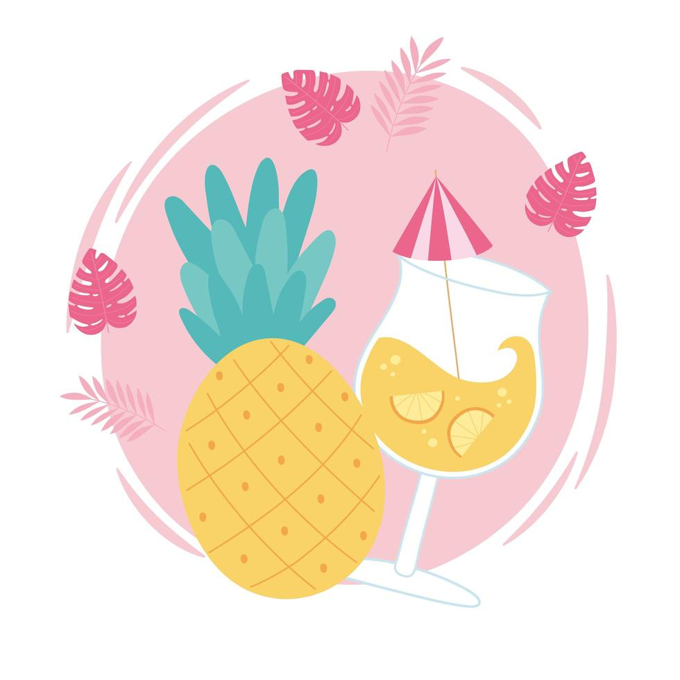 tropischer Ananasfruchtcocktail mit Regenschirm vektor