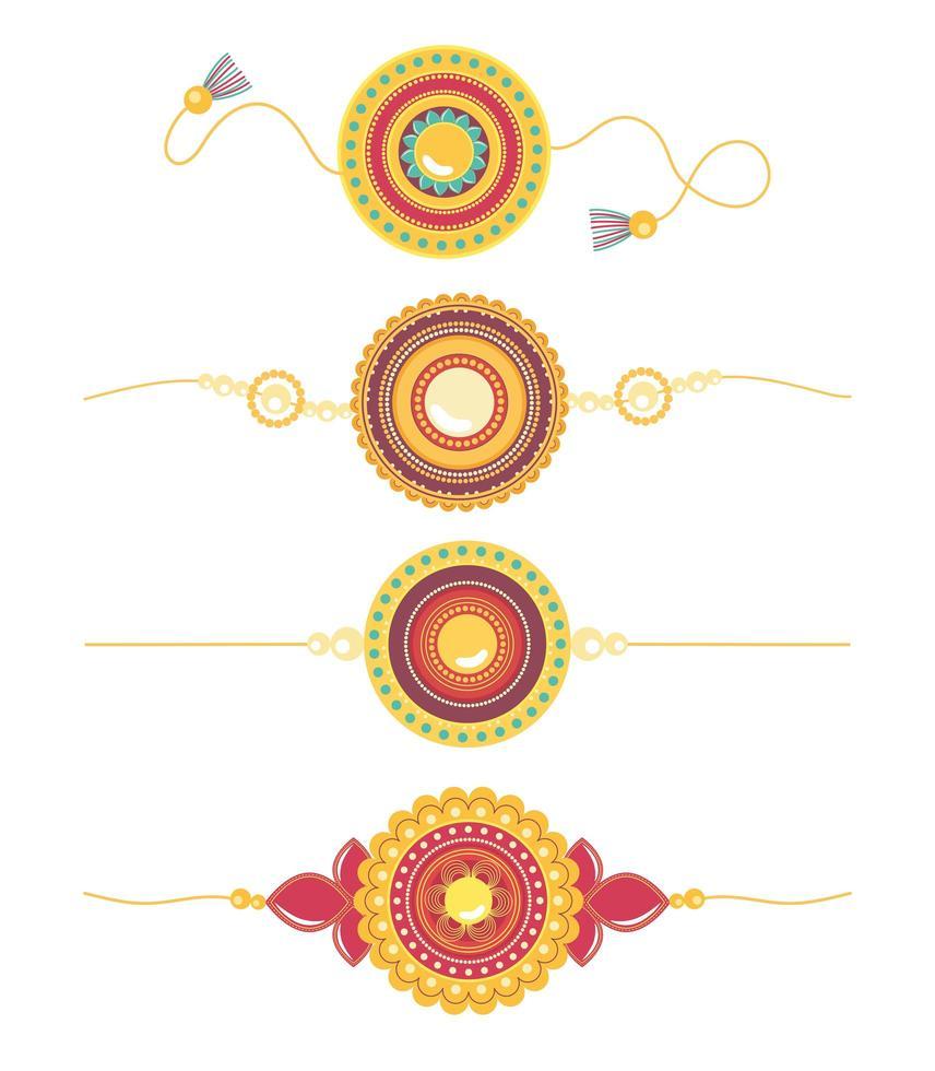 Raksha Bandhan, traditionelle indische Feier mit Armband-Set vektor
