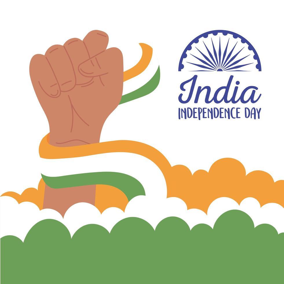 glad india självständighetsdag med flagga vektor